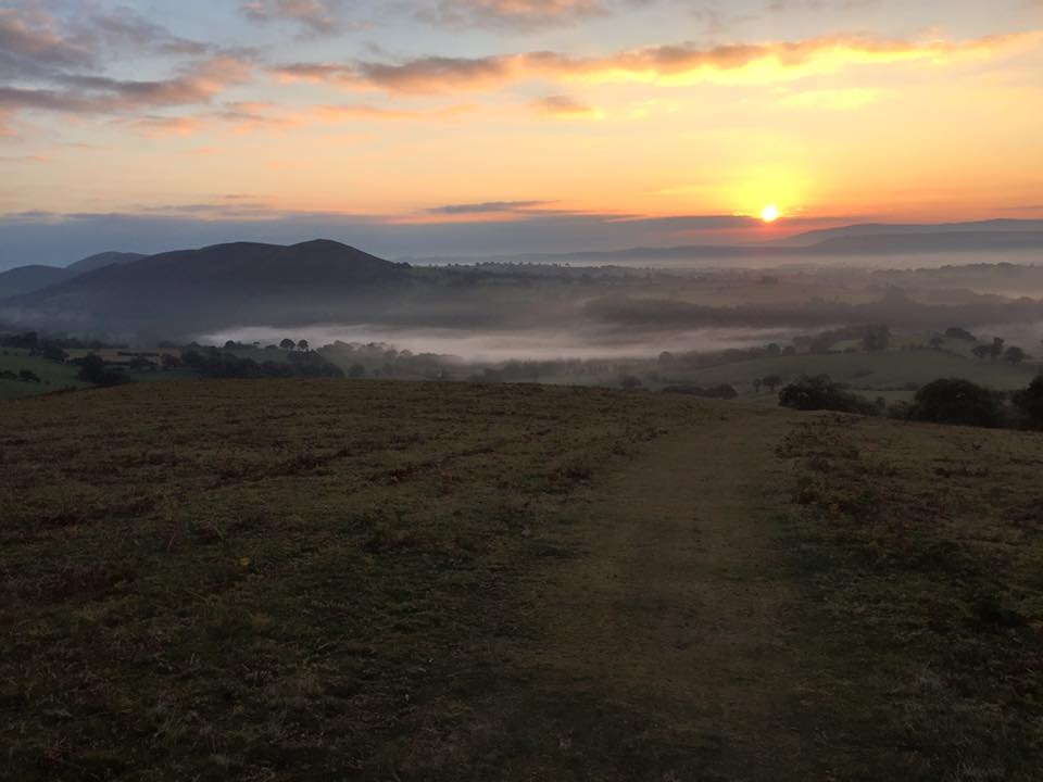 Daybreak over the Long Mynd brought the last 8 miles of the challenge